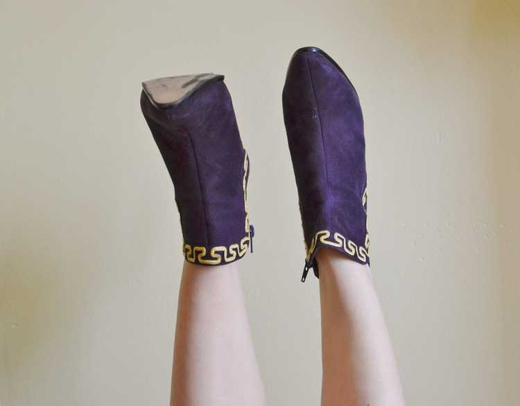 1980's Purple Suede Boots - image 5