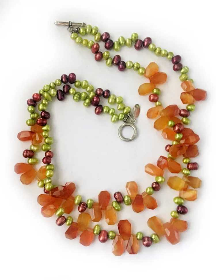 Colorful Freshwater Pearls, Carnelian and Sterlin… - image 3