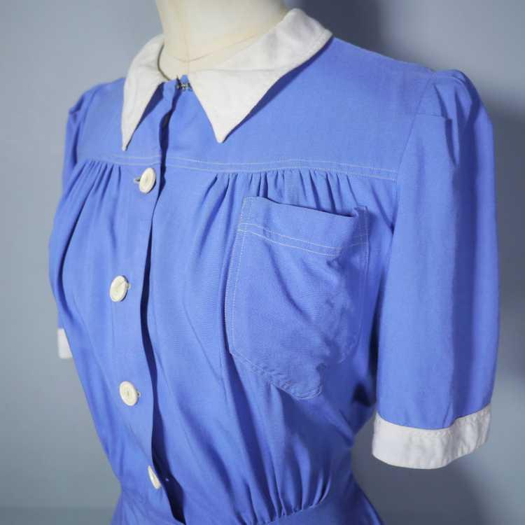 40s NURSE / ALICE style BLUE WHITE COLLARED SHIRT… - image 8
