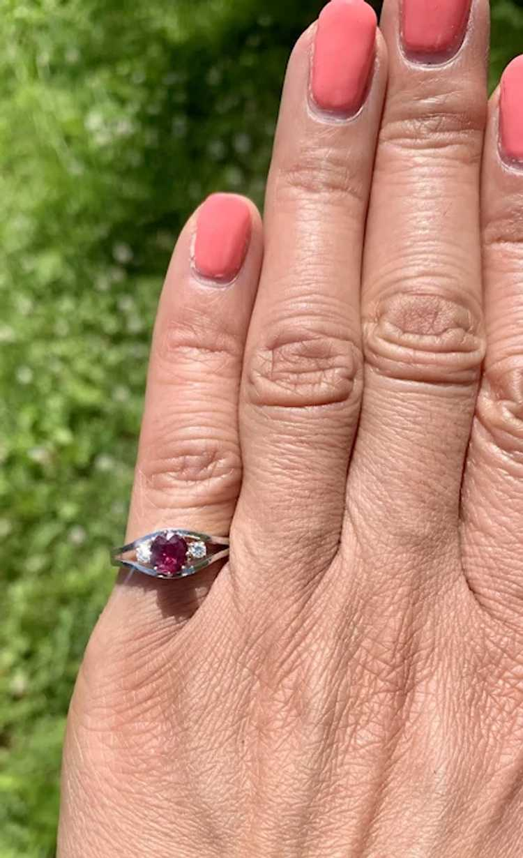 18k Gold Ruby Diamond Solitaire Ring - image 4