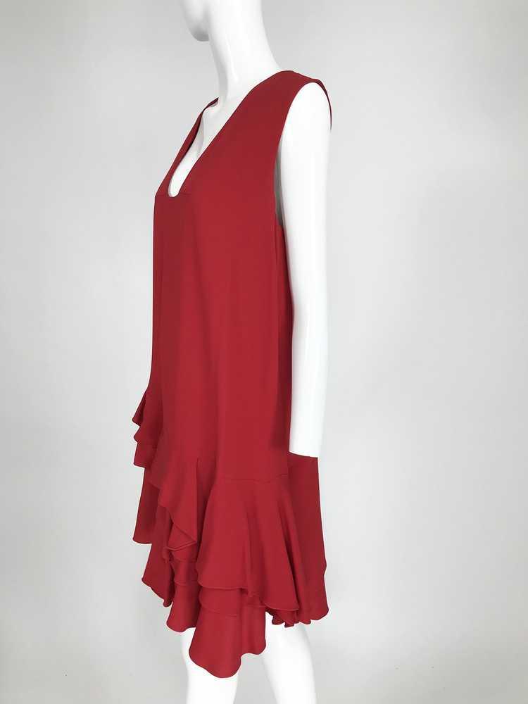 Lanvin Cherry Red Silk Blend Crepe Chemise Dress - image 3