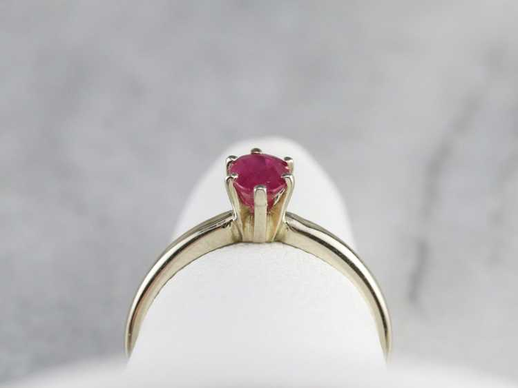 White Gold Ruby Solitaire Ring - image 8