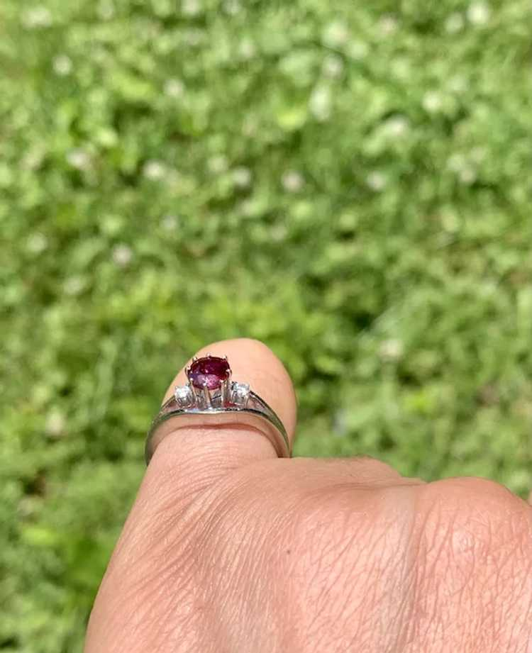 18k Gold Ruby Diamond Solitaire Ring - image 8