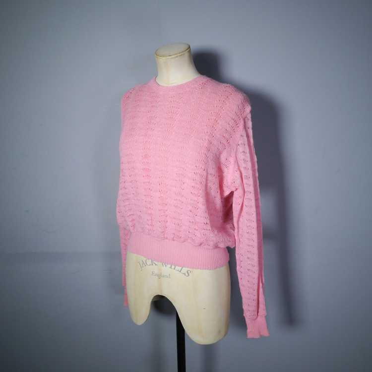 40s GEANCO PINK DELICATE POINTELLE LACE KNIT JUMP… - image 4