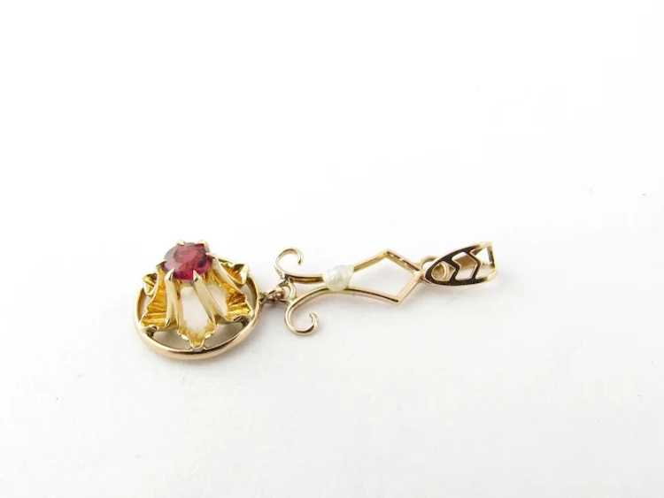 Vintage 10 Karat Yellow Gold Synthetic Ruby and P… - image 2