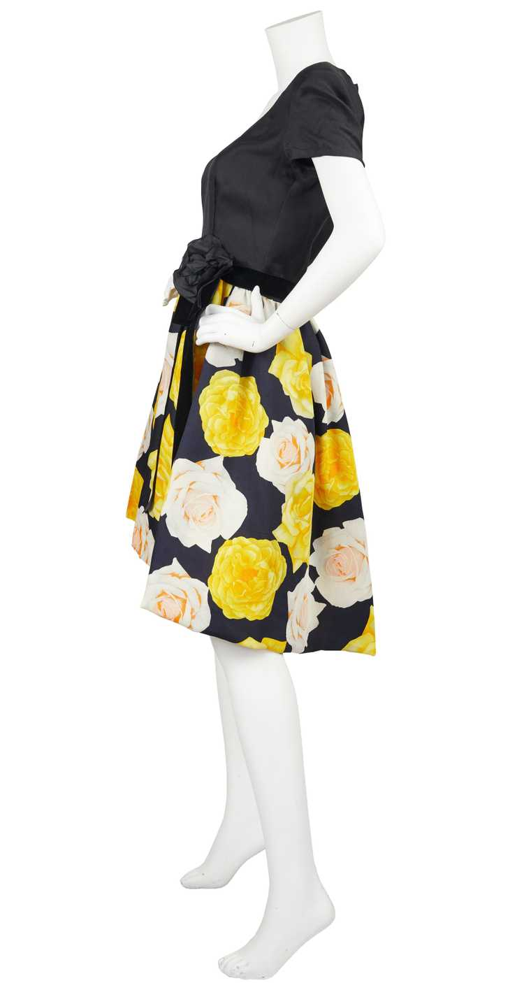 1980s Couture Rose Print Full Skirt Cocktail Dress - image 5