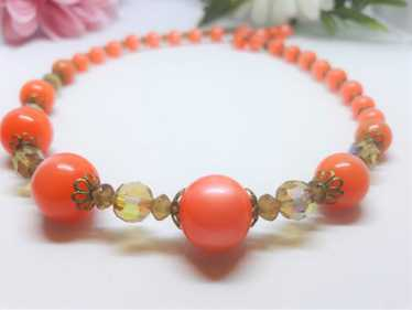 1960s Tangerine Orange Thermoset Beaded Princess N