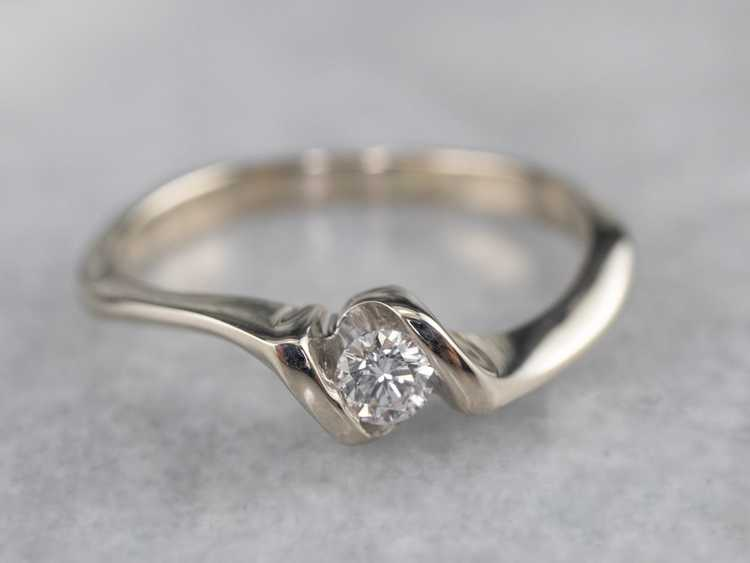 Diamond White Gold Solitaire Ring - image 1