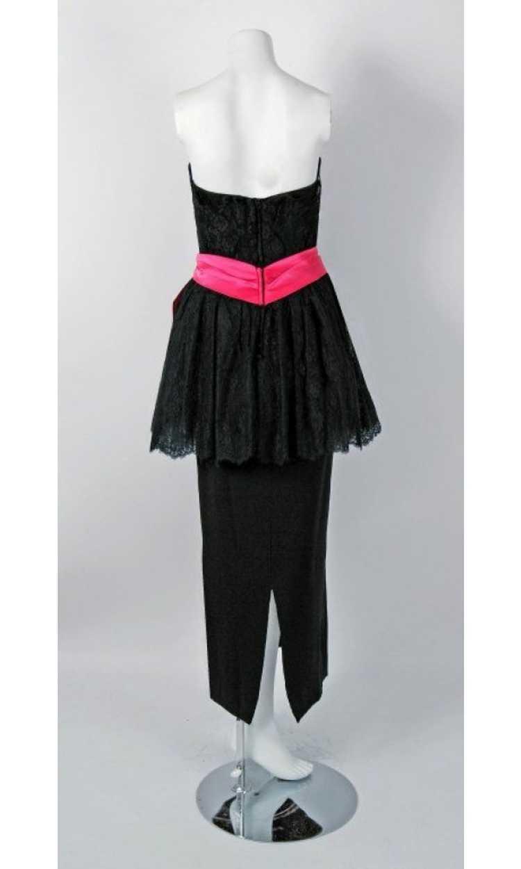 1950's Ceil Chapman Black & Pink Chantilly Lace S… - image 5