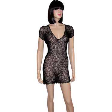 Giorgio Sant' Angelo-Black Stretch Knit Lace Mini-