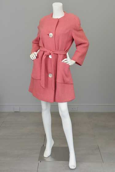 1950s Pink Bouclé Patch Pockets Coat