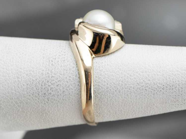 Vintage Pearl and Diamond Ring - image 9