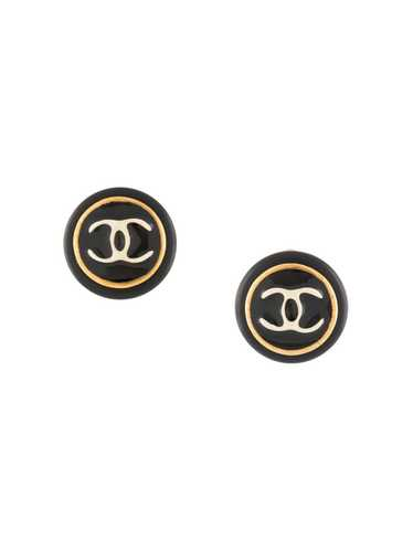 Chanel Pre-Owned 1995 CC button earrings - Black