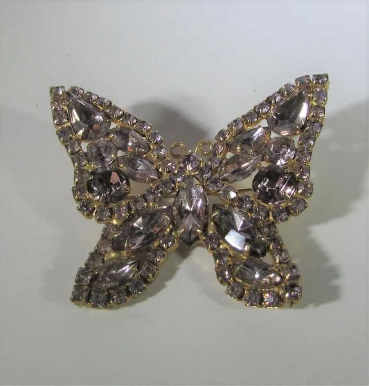 Vintage Dusty Rose Crystal Butterfly - image 3