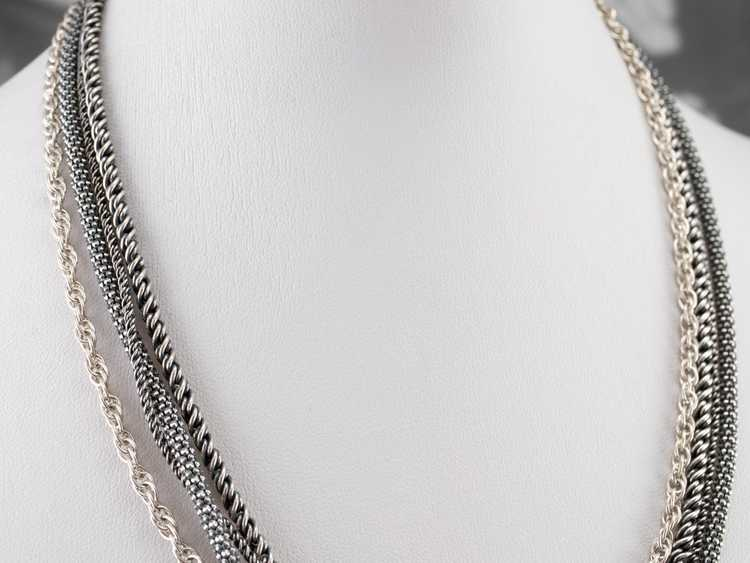 Sterling Silver Multi Strand Chain Necklace - image 10