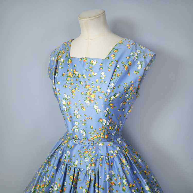 50s BLUE FULL SKIRTED DRESS BY RODNEY IN RED AND … - image 10