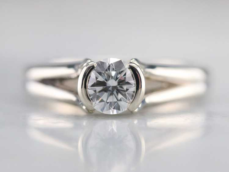 White Gold Diamond Solitaire Ring - image 1