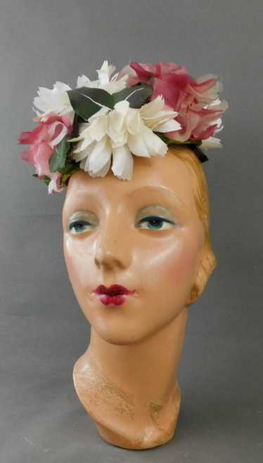 Vintage Pink & Dark Pink Chiffon Hat Floral Pillbo