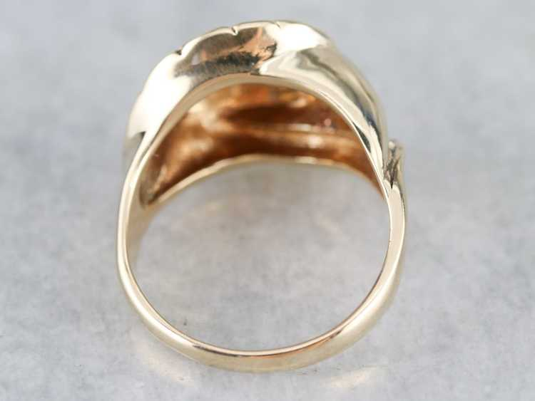 Diamond Solitaire Gold Feather Ring - image 5