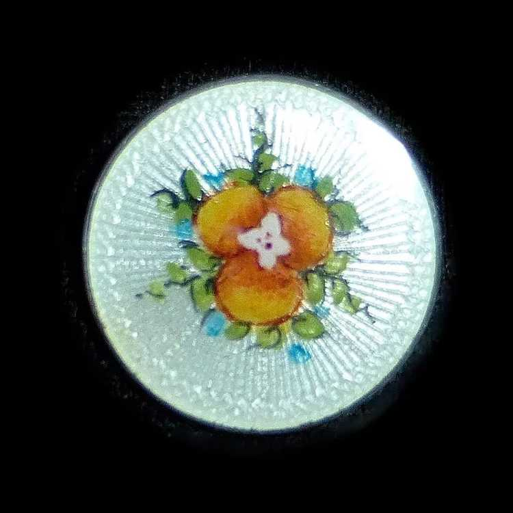 Vintage Sterling Guilloche Enamel Pansy Pin - image 8