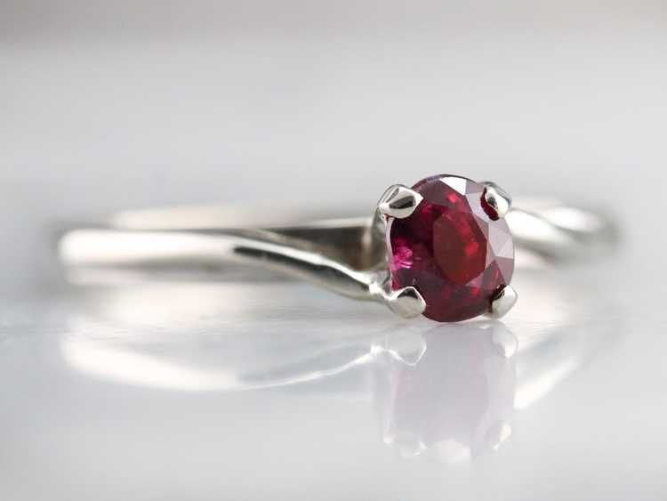 White Gold Ruby Solitaire Ring - image 2