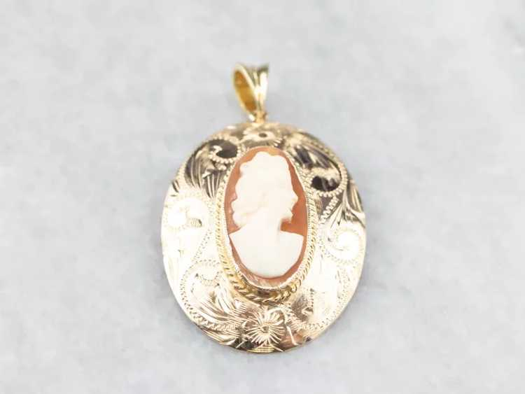 Floral Mid Century Cameo Pendant - image 2