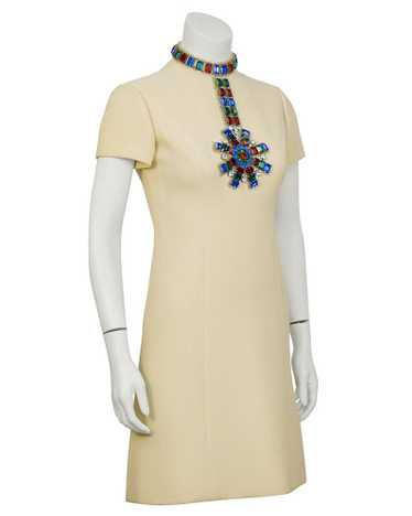 Norman Norell Beige Dress With Large Jewels