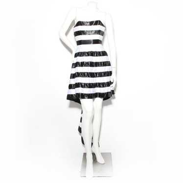 Todd Oldham Striped Strapless Dress