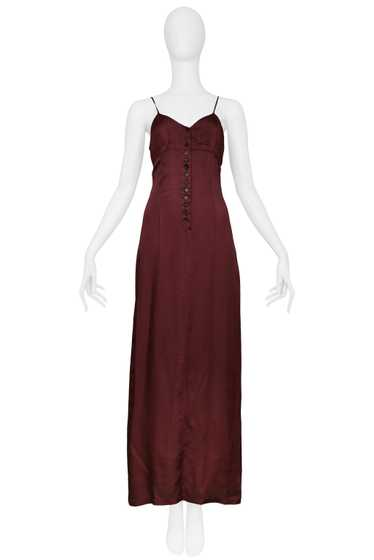 DRIES BURGUNDY MAXI SLIP DRESS 1997