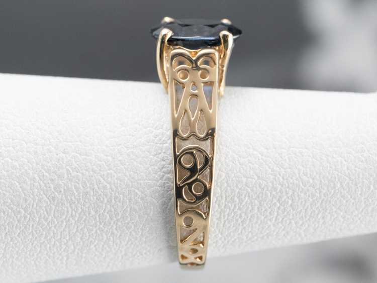 Sapphire Gold Filigree Solitaire Ring - image 9