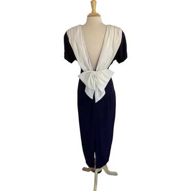 Datiani Vintage 1980s Navy and White Cocktail Dres