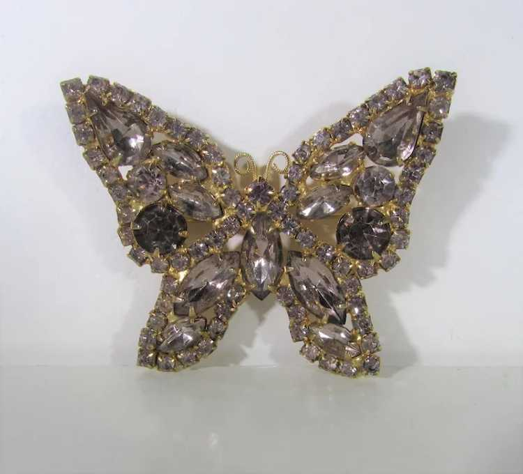 Vintage Dusty Rose Crystal Butterfly - image 4