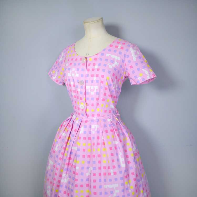 """50s 60s """"BANNER"""" PINK COTTON DAY DRESS WITH PASTE… - image 11"""