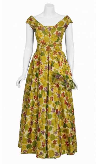 1950 Lanvin Castillo Haute Couture Watercolor Flor