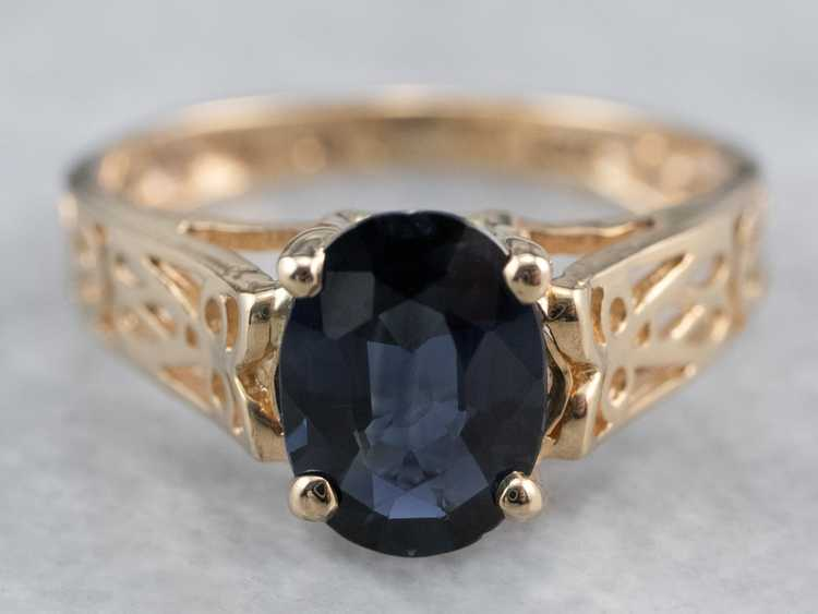 Sapphire Gold Filigree Solitaire Ring - image 2