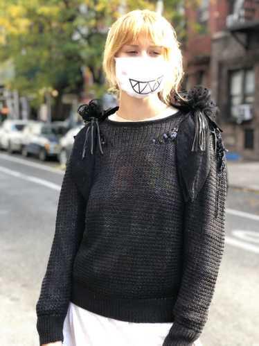 Vintage 80s Black Avant Garde Shoulders Sweater