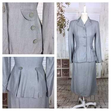 Original 1940s 40s Vintage Light Blue Grey Cotton