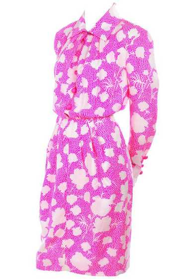 1980s Givenchy Pink & White Floral Silk Day Dress