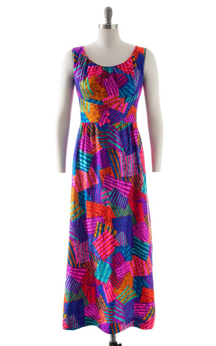 NEW ARRIVAL || 1960s 1970s Neon Patchwork Maxi Dr… - image 1