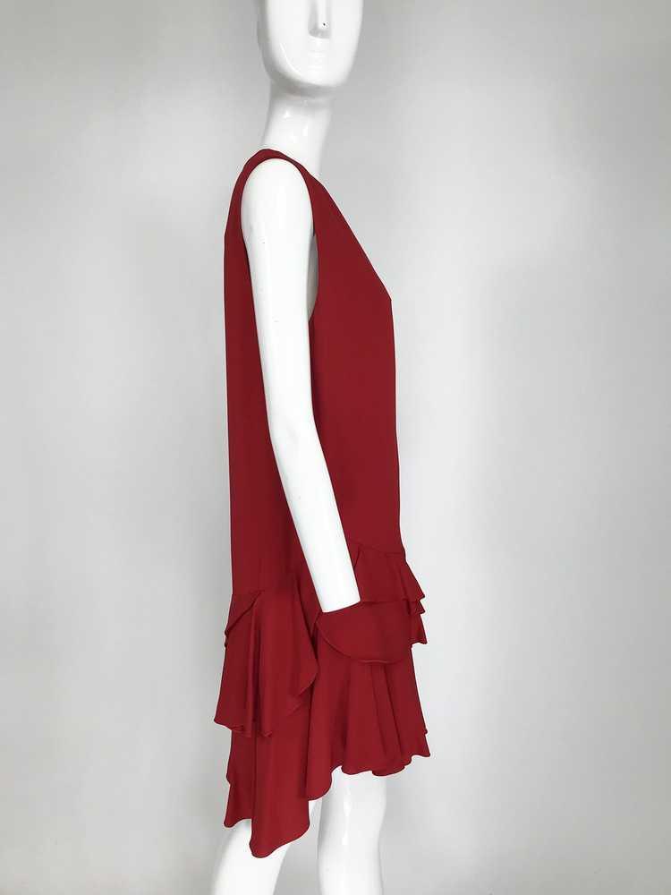 Lanvin Cherry Red Silk Blend Crepe Chemise Dress - image 8