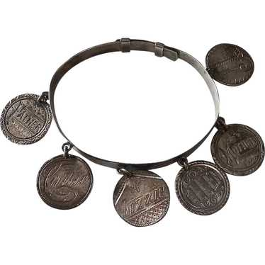 ANTIQUE VICTORIAN sterling love token 9 COIN  bracelet seated liberty Mother