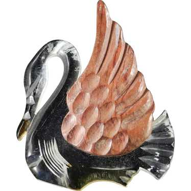 '40s Vintage Lucite Carved Wood Swan Brooch Pin