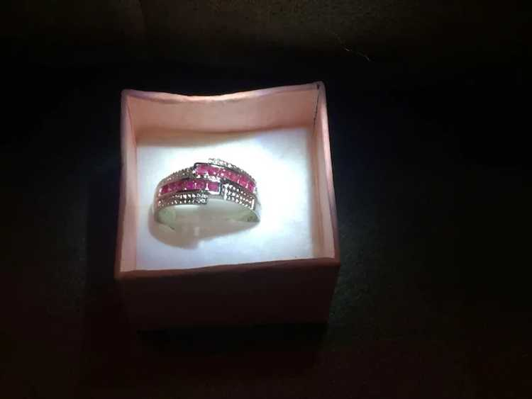 Stunning Sterling Silver and Ruby Ring - image 3