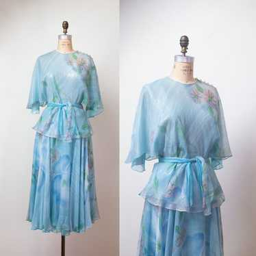 1980s Set Hand Painted Silk Lurex Skirt & Blouse |