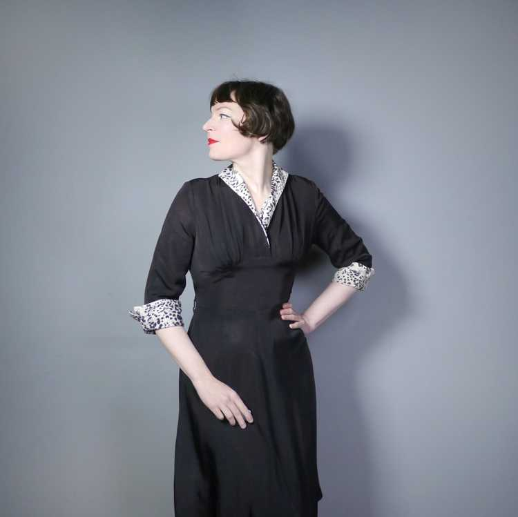 "40s 50s BLACK RAYON ""BICKLER"" DRESS WITH LEOPARD … - image 2"