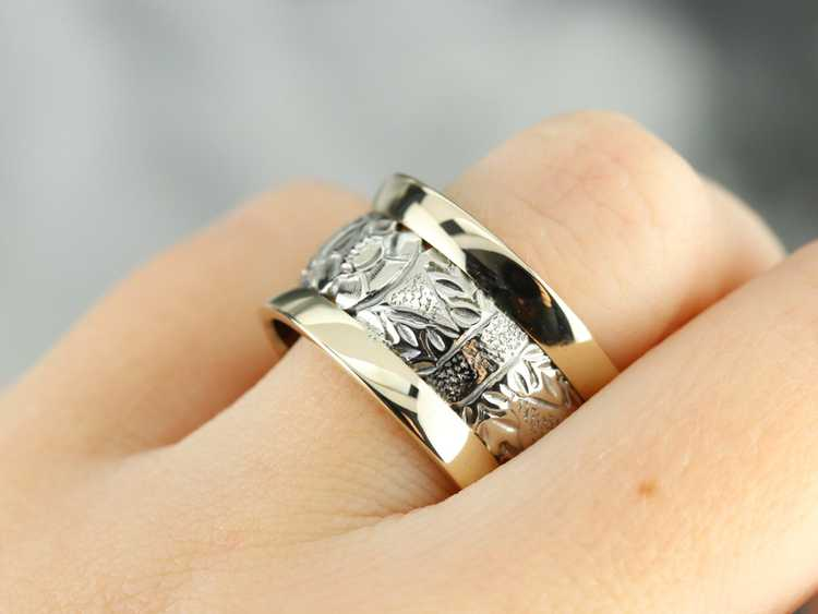 Patterned Two Tone Gold Wide Band - image 5