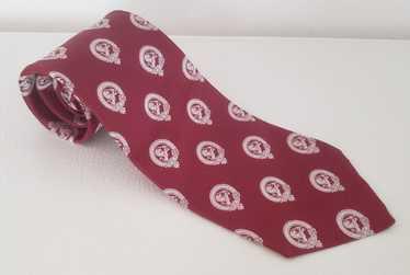 Lanvin Lanvin silk neck tie 1970s red white lions - image 1