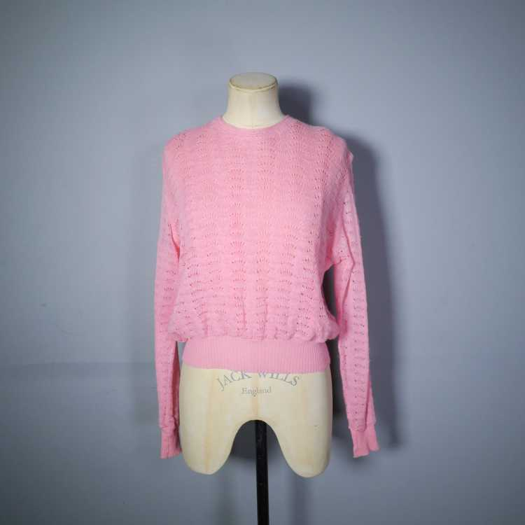 40s GEANCO PINK DELICATE POINTELLE LACE KNIT JUMP… - image 3