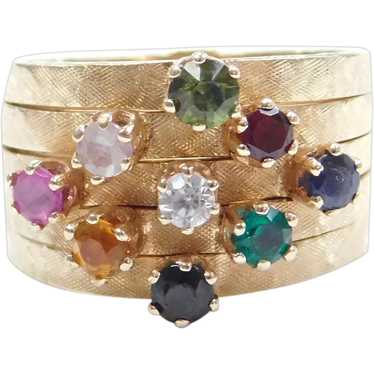 14k Gold Colorful Gemstone Harem Ring