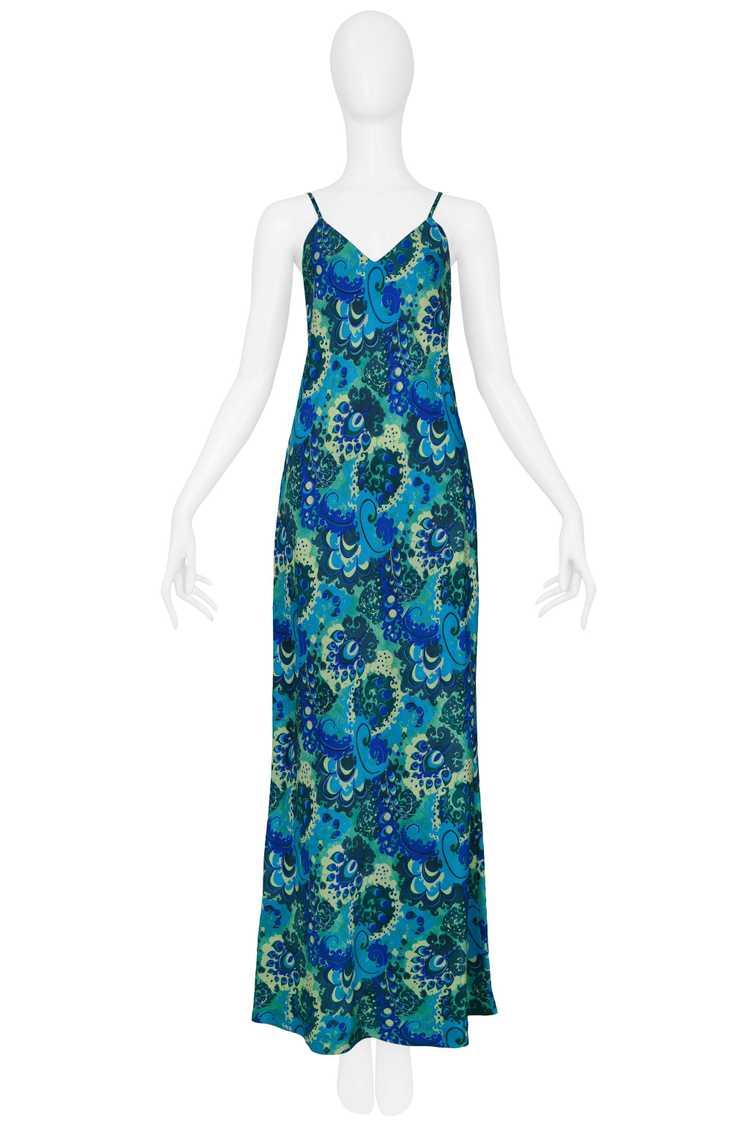 DRIES BLUE & GREEN FLORAL SLIP DRESS 1997 - image 1